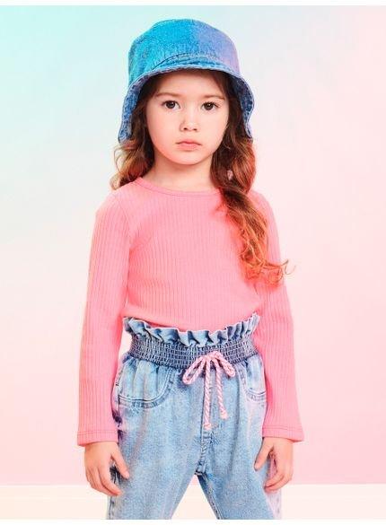 blusa infantil feminina rosa de manga longa momi