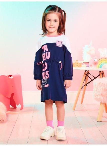 vestido infantil manga longa marinho fabulous momi