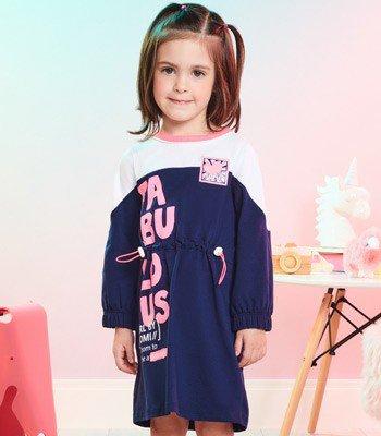 Vestido Infantil Manga Longa Marinho Fabulous Momi J3466