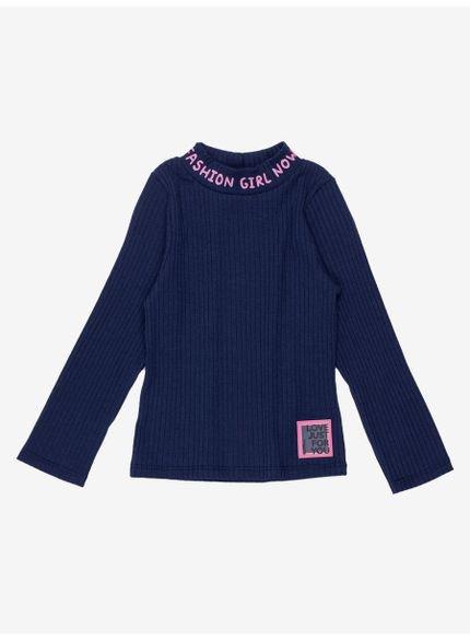 blusa infantil feminina gola alta marinho girls fashion