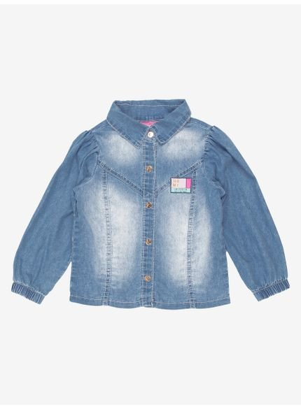 camisa infantil menina jeans manga bufante momi