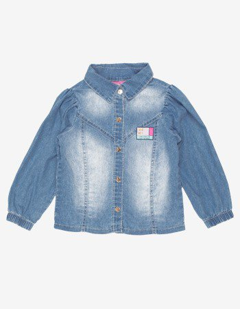 Camisa Infantil Menina Jeans Manga Bufante Momi J3714
