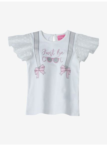 blusa infantil feminina manga curta off white momi