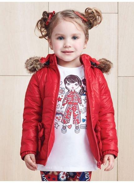 jaqueta infantil menina doudoune vermelha momi