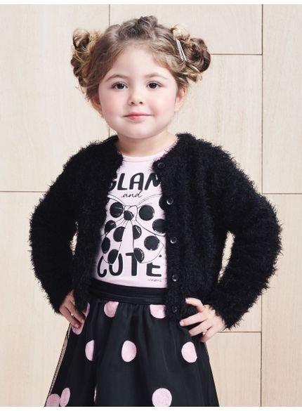 casaco infantil feminino fluffy preto momi