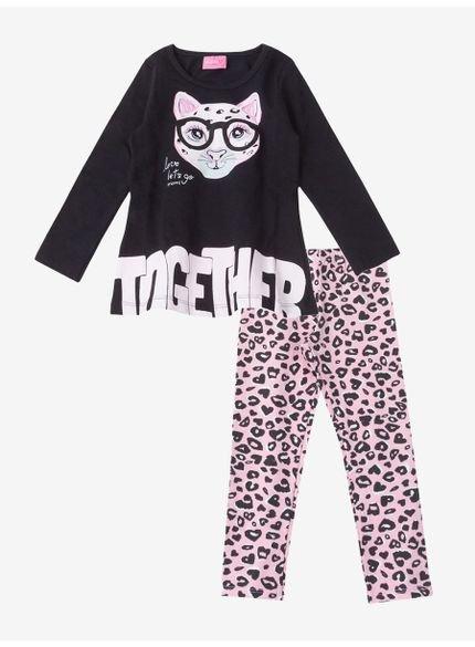 conjunto estampado infantil feminino preto e rosa momi