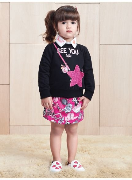 conjunto infantil menina estampa estrela momi