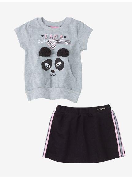 conjunto infantil menina panda cinza momi