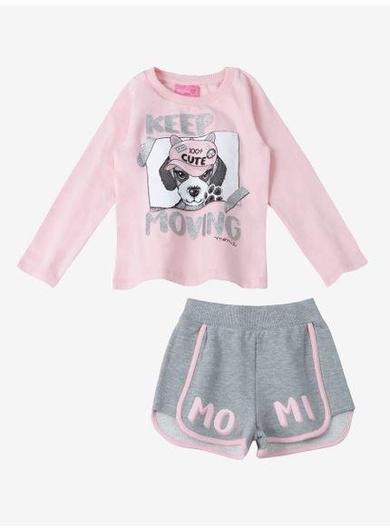 conjunto infantil menina dog rosa momi look
