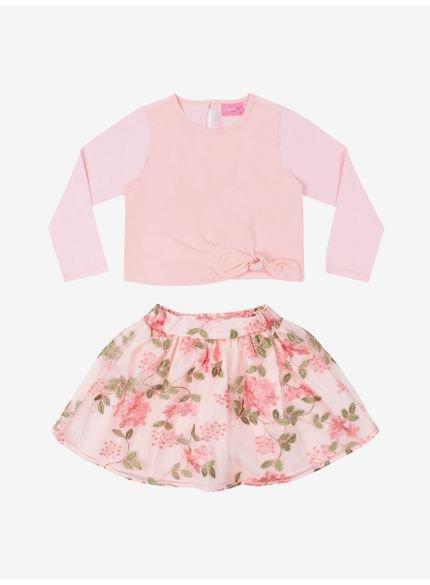 conjunto infantil menina floral bege momi