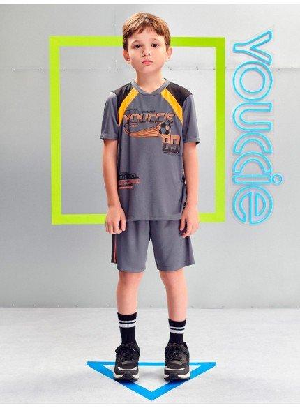 conjunto esportivo infantil cinza com laranja neon