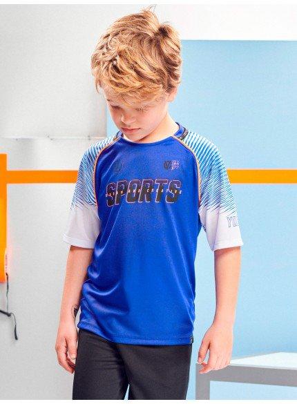 camiseta esportiva raglan azul infantil youccie