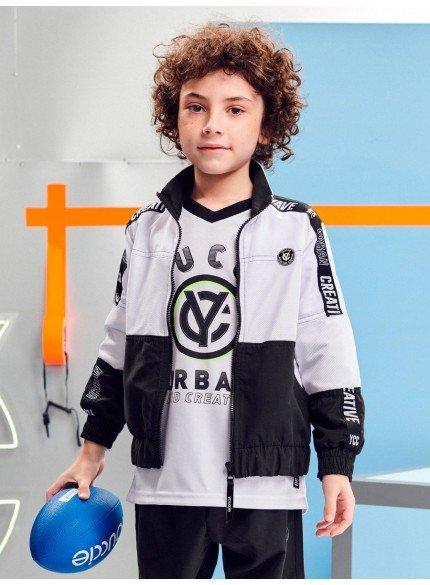 jaqueta infantil sport com detalhe em tela