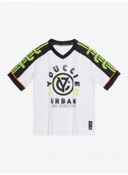 camiseta raglan sport infantil branca youccie d0431