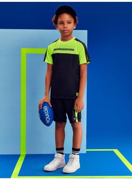 conjunto infantil esportivo preto e verde neon