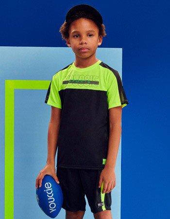 Conjunto Infantil Esportivo Preto e Verde Neon D0459