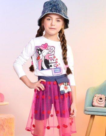 Conjunto Infantil Feminino Frajola com Tule de Poa Momi H2893