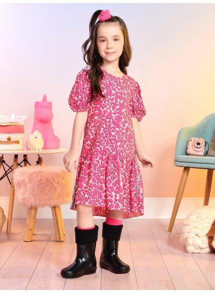 vestido infantil animal print rosa com manga bufante momi