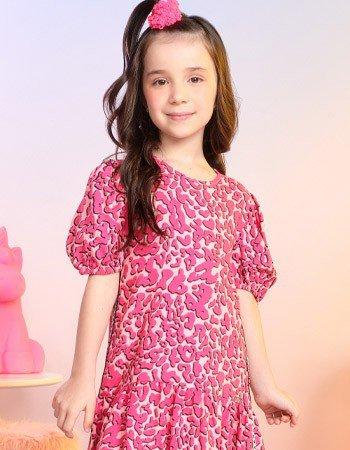 Vestido Infantil Animal Print Rosa com Manga Bufante Momi H2828