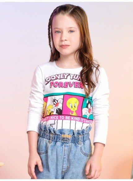 blusa looney tunes branca infantil feminina momi