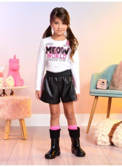 conjunto infantil menina shorts couro fake preto momi
