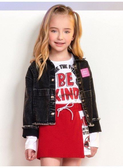 jaqueta jeans infantil feminina preta barra desfiada momi producao