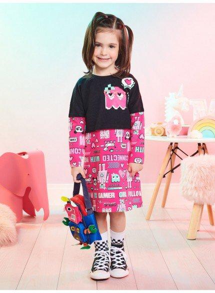 conjunto infantil vestido com blusa de manga longa momi