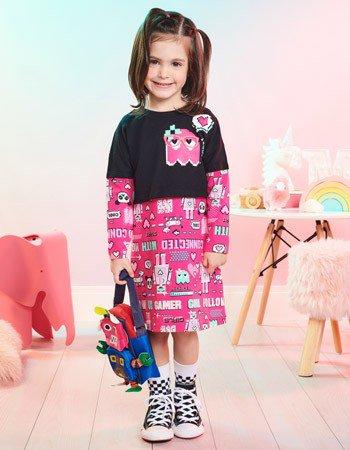 Conjunto Infantil Vestido com Blusa de Manga Longa Momi J3862