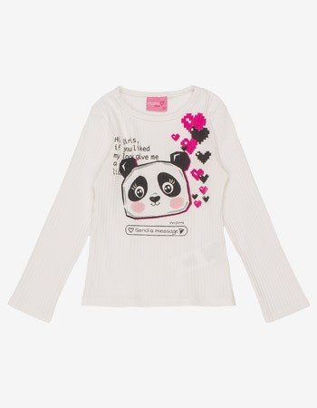 Blusa Canelada Infantil Menina Off White Estampa Panda Momi J3352