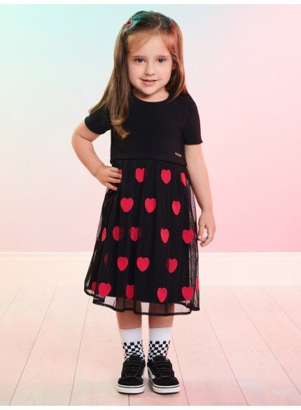 vestido preto infantil com tule de coracao momi