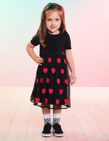 Vestido Preto Infantil com Tule de Coracao Momi J3643