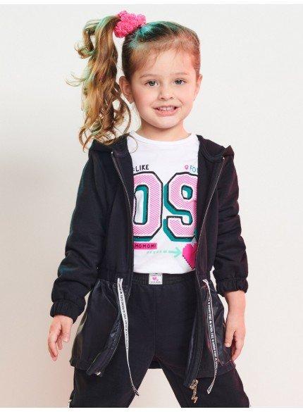 jaqueta parka infantil menina de moletom preta momi