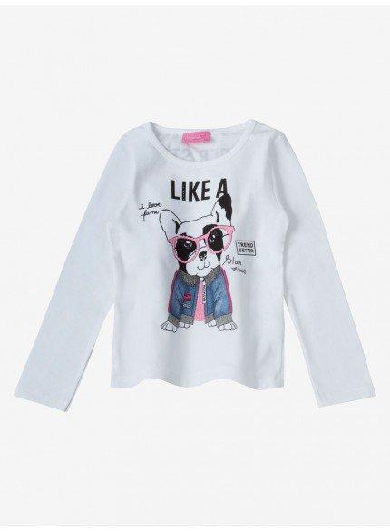 blusa infantil feminina dog momi