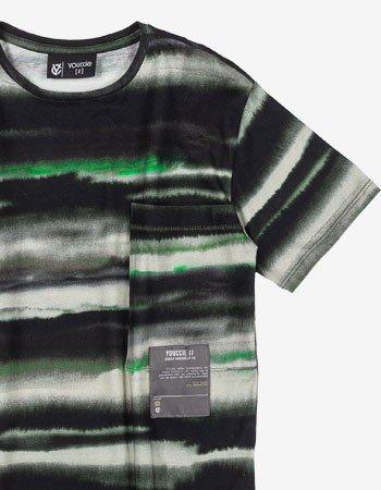 Camiseta Infantil Masculina Listrada Verde Militar D0341