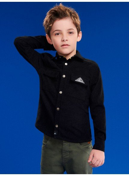 camisa infantil menino preta de veludo cotele youccie