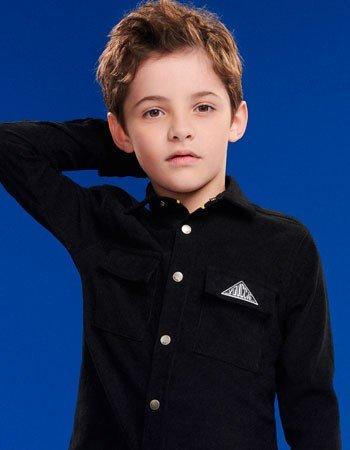 Camisa Infantil Menino Preta de Veludo Cotele Youccie D0348