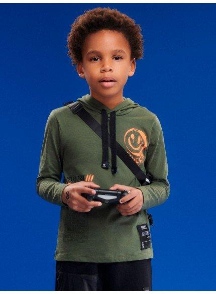 blusa com capuz verde militar infantil menino
