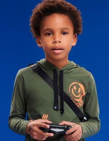 Blusa com Capuz Verde Militar Infantil Menino D0353