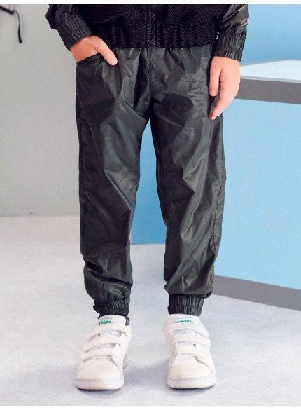 calca jogger corta vento preta infantil masculina
