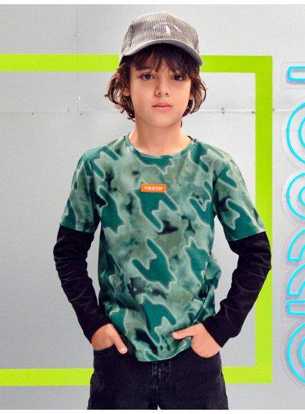 blusa infantil masculina de manga longa camuflada