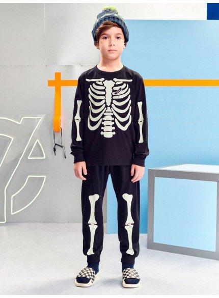 conjunto esqueleto brilha no escuro infantil menino