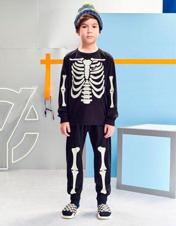 Conjunto Esqueleto Brilha no Escuro Infantil Menino D0548