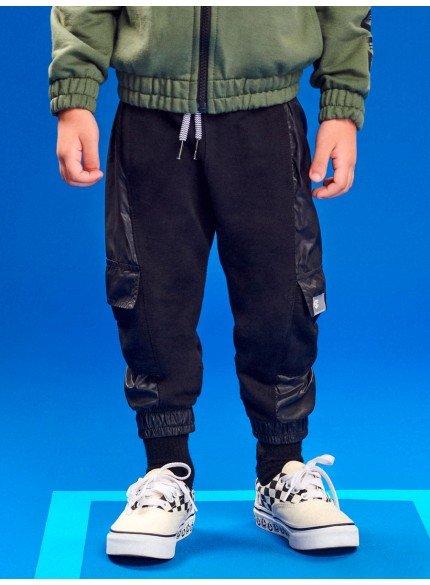 calca jogger preta infantil masculina com bolsos