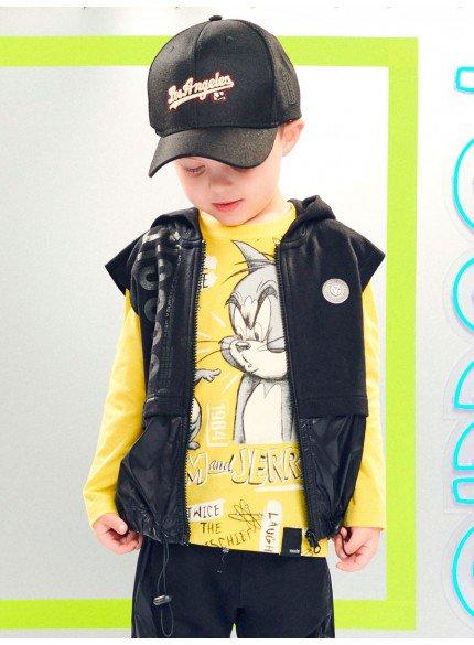 colete de moletom infantil masculino preto com capuz
