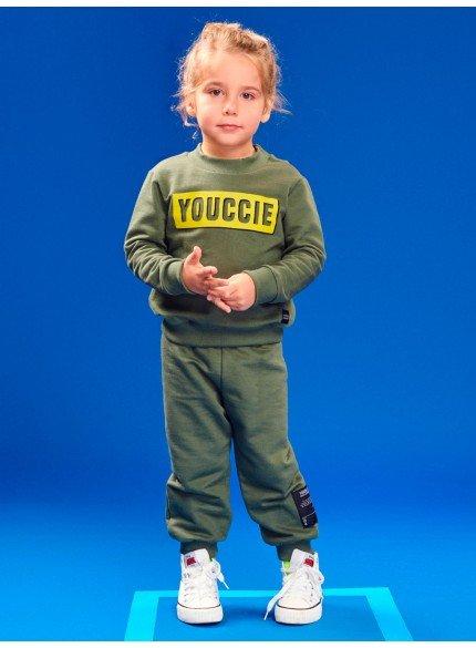 conjunto infantil masculino de moletom verde militar youccie