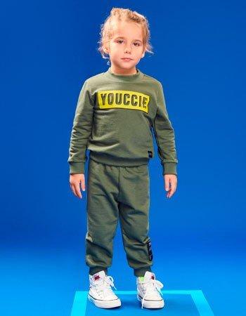 Conjunto Infantil Masculino de Moletom Verde Militar Youccie I0380