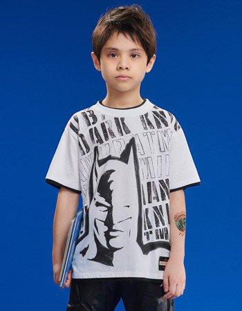 Camiseta Branca Infantil Menino Batman Youccie D0403