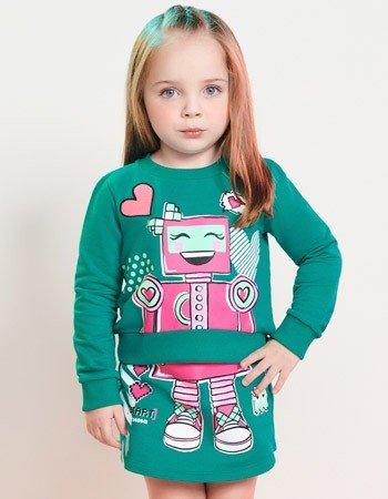 Conjunto Infantil Menina de Moletom Verde Robo J3609