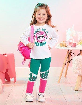 Conjunto Infantil Feminino Cat Blogger Momi J3838