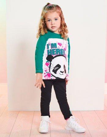 Conjunto Infantil Menina de Panda Momi J3606